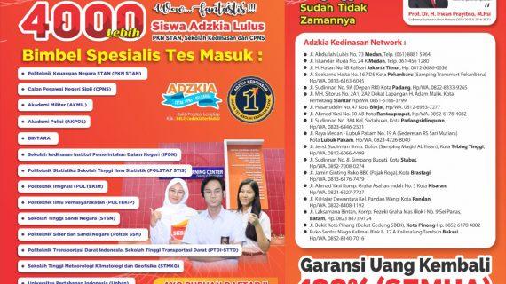 GARANSI UANG KEMBALI 100%, Call 0813-6163-6045, Bimbel Adzkia Pekanbaru
